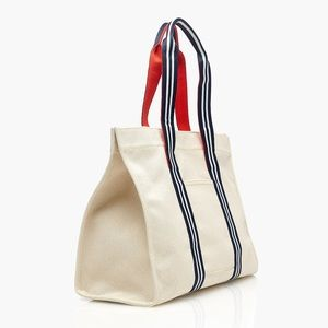 NWT J. Crew Large Canvas Tote with Striped Straps